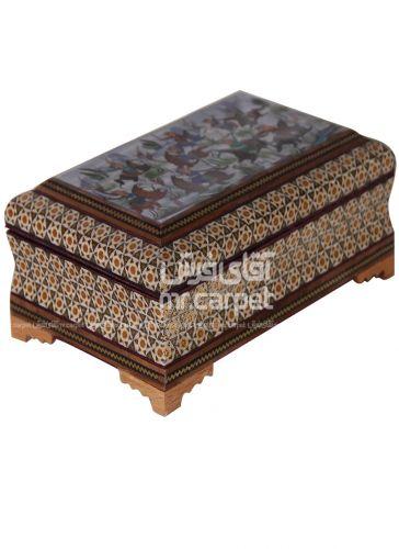 جعبه 14*22 بغل کاس توجیر رو نقاشی-خاتم- مکعب اصفهان