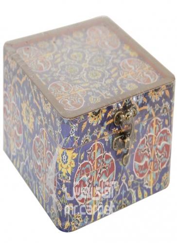 صندوقچه دکوپاژ مربع کوچک مکعب اصفهان