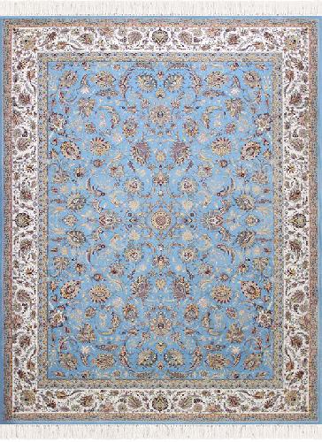 طرح افشان سلطنتی رنگ آبی 1200 شانه پلی استر فیلامنت فرهی