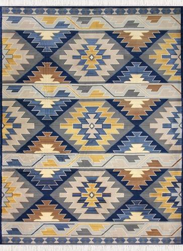 طرح 1503 رنگ آبی تیره 400 شانه پلی استر فیلامنت